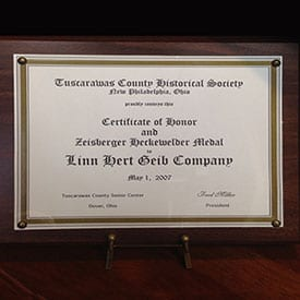 Tuscarawas County Historical Society Certificate of Honor